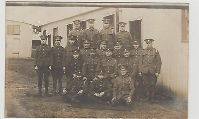 WW1 Soldier Grouping Outside Barracks Cap Badges Visible RPPC Unposted c1910s