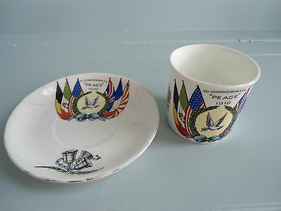 "Vintage Ww1 ""to Commemorate Peace 1919"" Cup And Saucer"