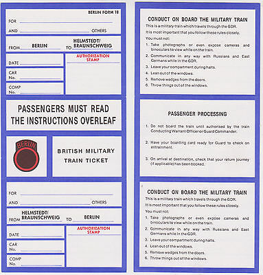 Britsh Military Train Railway Ticket - Berlin - Helmstedt - Cold War - Army Baor