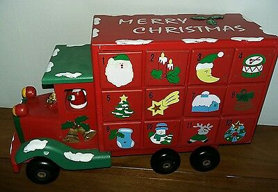 Christmas Advent Calendar Red Wooden Lorry Truck Santa Snowman 24 Drawers Large