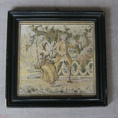 Delightful Small Vintage Classical Tapestry, Girl On Swing, Framed