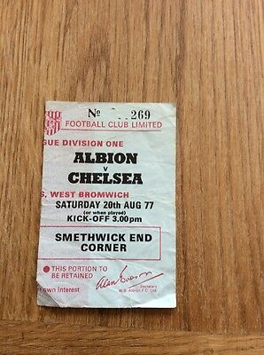 West Brom V Chelsea Match Ticket 20th August 1977