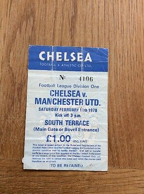 Chelsea V Manchester United Match Ticket 11 Th February 1978
