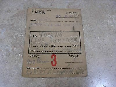 Lner Railway Goods Label From Selby To  Honing M&gn Jr 24/12/1940 For Worstead