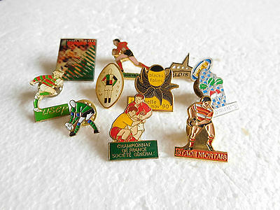 Job lot of 10 Rugby sport related vintage metal lapel pins