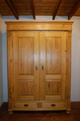 Beautiful Lady's Antique Pine Armoire / Double Wardrobe/ Dismantles  1890