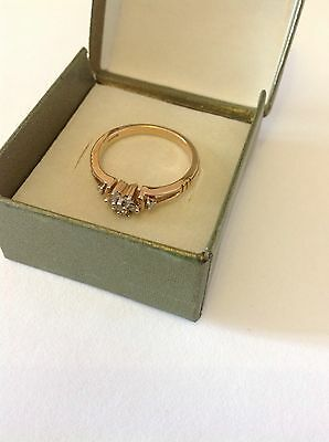 9k/ 9ct Diamond Yellow Gold Ring, Size N, Great Condition