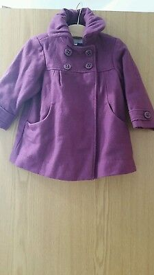 vertbaudet next monsoon girls purple wool coat age 2