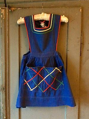 french vintage childs character pinafore dress
