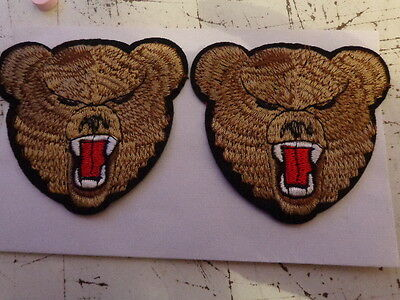 2x bear heads iron on patches 85mm