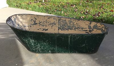Vintage Child's Galvanized Steel Bath Tub Painted Green Eggshell White Decorator
