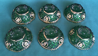 EAPG Northwood Memphis Dolls Eye 6 Berry Bowl Set Emerald Green Gilt Circa 1908