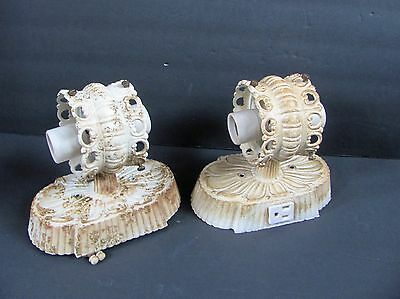 Vintage Pair Underwriters Eagle Mfg Electric Wall Sconces Double Light Fixtures