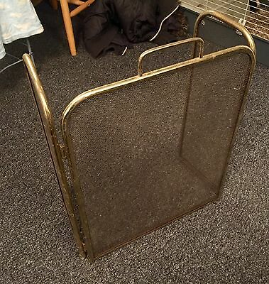 Vintage Collectible Brass Folding Fire Guard Screen Child Safety