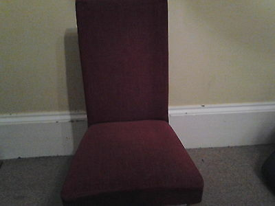 4 upholstered dining chairs red fabric very comfortable.