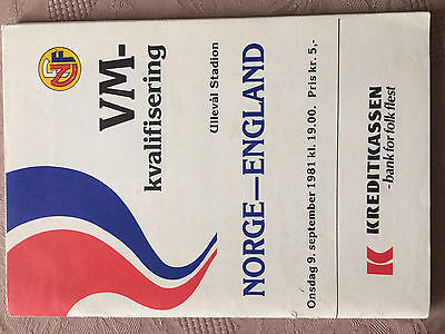 Norway v England World Cup Q 1981