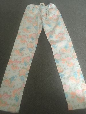 Girls Floral Jeans Age 12