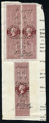 GB 1872 LIFE POLICY revenue fiscal £1 10/- red brown USED ON PIECE Perkins Bacon