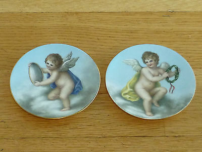 Antique BODLEY Pair Of small Cabinet plate Gilt rim Angels
