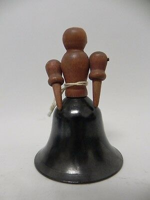 SOUTH AMERICAN FOLK ART VINTAGE BELL Wood Metal Figurine Handle 1943 #353 ABA