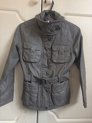 Trendy Leather Look Grey Girls Jacket From Next 7-8 Years