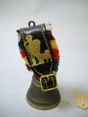 SWISS Bell with BRACELET COLORED FRINGE and MAN WITH DOG Brass PLATE on Strap