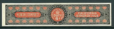 GB 1911-14 Large format MEDICINE DUTY fiscal revenue 6d black & red mint unused