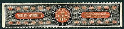 GB 1911-14 Large format MEDICINE DUTY fiscal revenue 6d black & red mint imperf