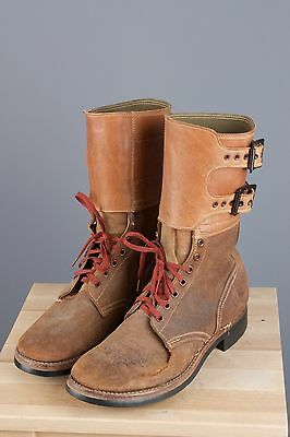 Vtg WWII Mens Double Buckle Suede Roughout Combat Boots AS-IS sz 8.5 C #1942