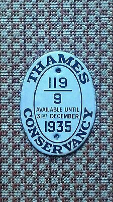 Thames conservancy licence plate 1935.