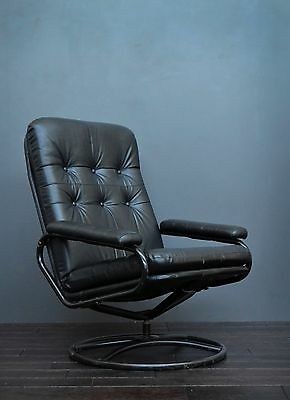 Vintage Retro Mid Century Scandinavian Metal & Black Leatherette Swivel Chair