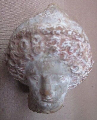 Antique Greek or Roman Terracotta Head Fragment with Traces of Paint