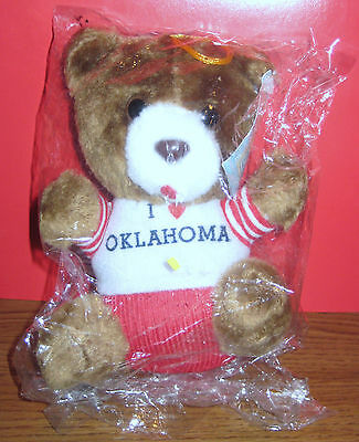Vintage 1984 I Love Oklahoma Plush Bear Animal Buddies New in Package with Tag
