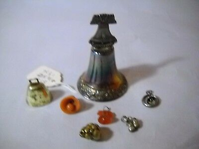 SET OF 7 ITEMS One IRRADESCANT Liberty Bell BELL 6 VARIOUS Mini METAL & PLASTIC