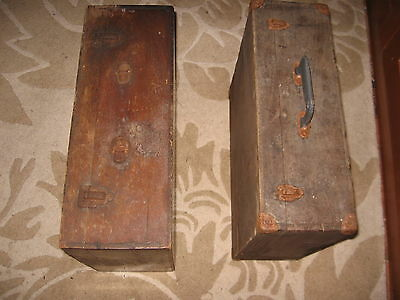 Antique / Vintage  Brown Carpenters Wooden Tool Box x 2