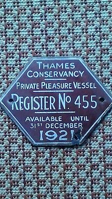 Thames conservancy licence plate 1921