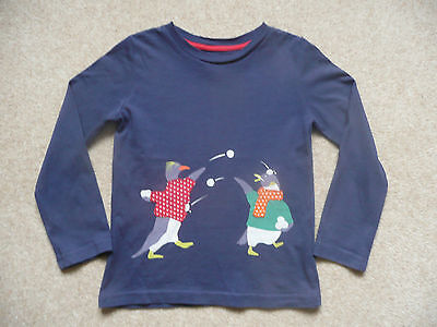 Boys Boden penguin snow print long sleeve top. Size 3 to 4 years. VGC.