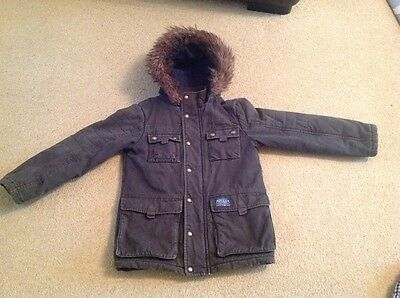 Joules boys winter green hooded coat age 7-8 years