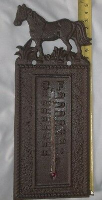 """Cast Iron HORSE Thermometer 10"""" Tall Great Rustic Look Ranch Farmhouse Cowboy"""