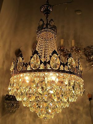 Antique Vnt French HUGE Basket Style Crystal Chandelier Lamp 1940's 16in dmtr*--
