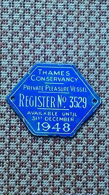 Thames conservancy licence plate 1948.