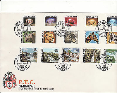 Zimbabwe - 1980 First Definitive Issue Fdc 15 Stamps