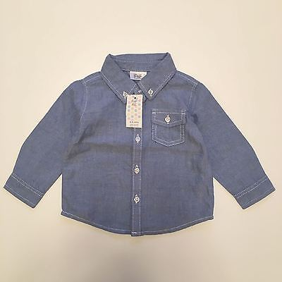 Bnwt F&f Baby Boys Blue Shirt - 6-9 Months - Brand New With Tags (Next Day)