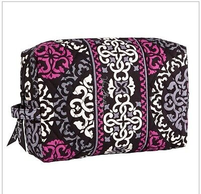 NWT Vera Bradley Travel LARGE Large Cosmetic Bag In Pink Canterberry Magenta