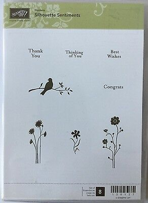 Stampin' up! SILHOUETTE SENTIMENTS Cling Mounted Rubber Stamps