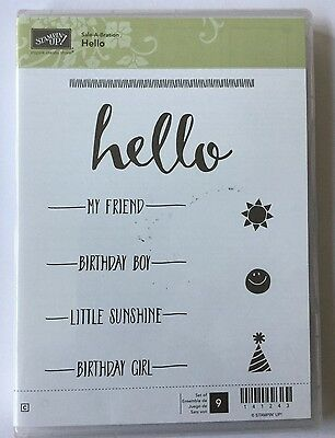 Brand New - Stampin' up! HELLO - Cling Rubber Stamps - 9 Stamps