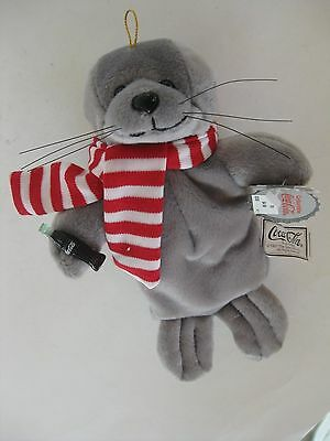 1997 Coca Cola Plush Seal In Red & White Striped Scarf