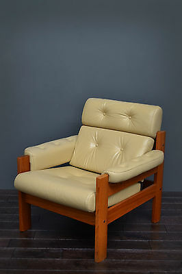 Vintage Retro Mid Century Style Scandinavian Ekornes Cream Leather Armchair