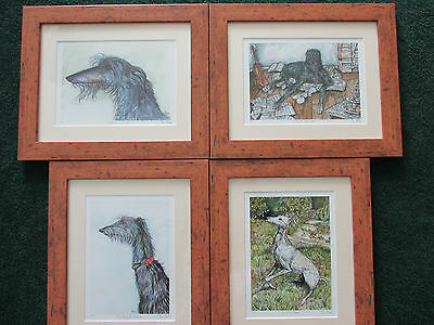 FOUR signed and framed limited edition prints by Elle J Wilson.  Sight Hounds