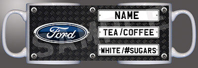 Ford logo number plate checkered diamond personalised printed mug D1